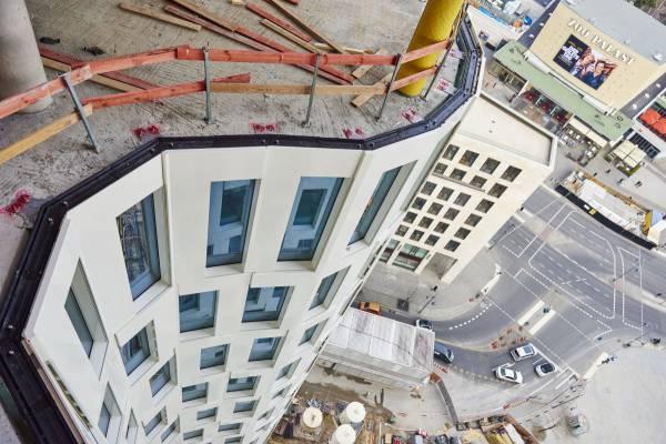 Spektakuläre Perspektive auf die Fassade des Upper West!